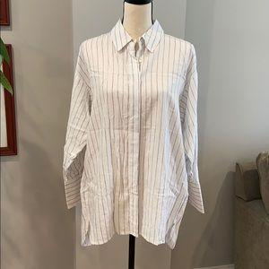 Zara striped linen tunic. White with blue stripe.